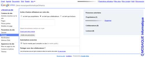 La page Options de partage du site - Google Sites