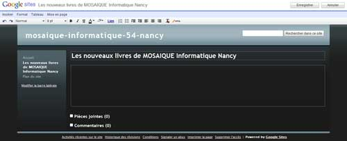 La nouvelle page - Google Sites